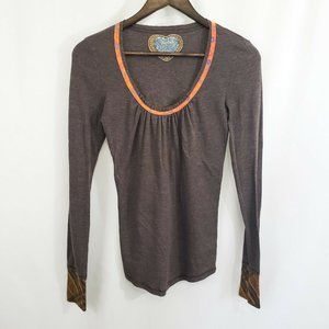 Scrapbook Anthropologie Bohemian Contrast Cuff Top